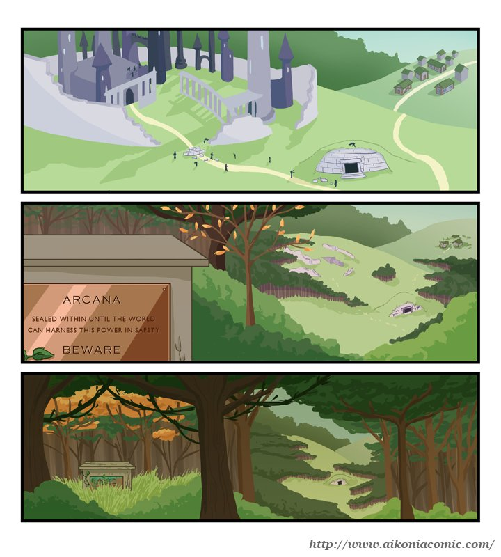"Page 157, ""Creating A Myth"", of the Aikonia fantasy webcomic"